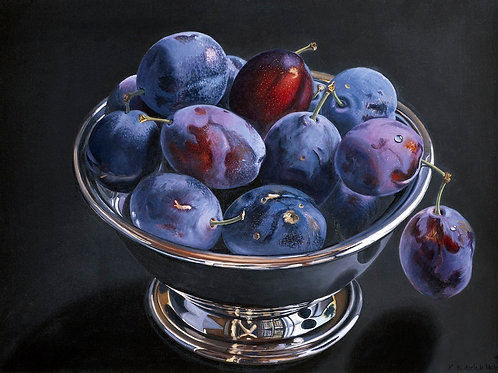 """Pears in Silver Bowl""  oil on linen"