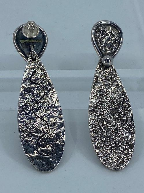 KAJME 19  Reticulated sterling silver earrings