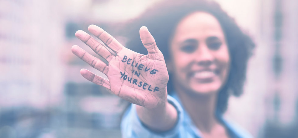 Believe in yourself open hand
