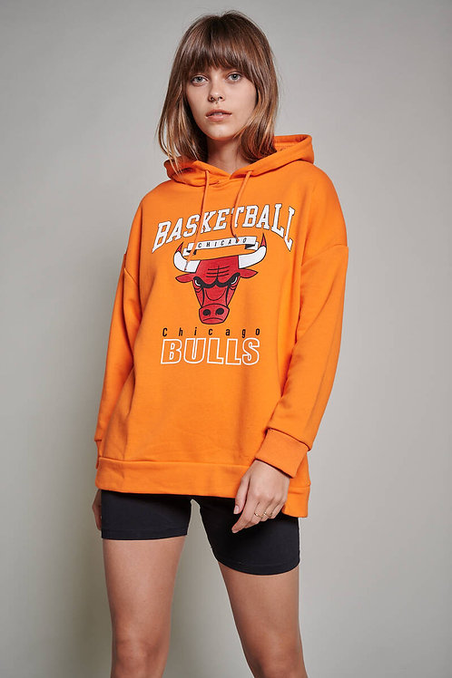 Chicago Bulls Baskılı Oversize Sweatshirt
