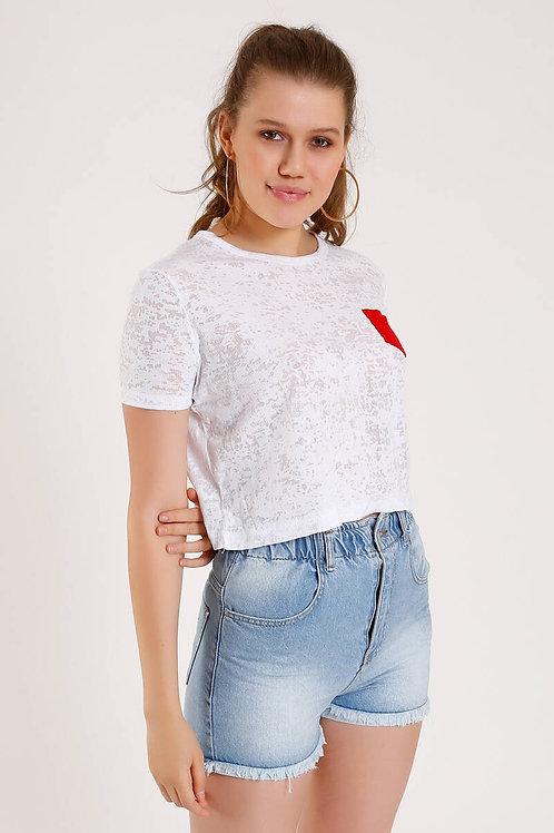 Kırmızı Cepli Basic Tişört