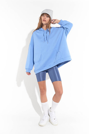 Kanguru Cep Kapüşonlu Oversize Sweatshirt