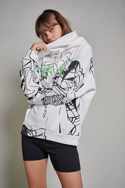Kapüşonlu Boğazlı Baskılı Sweatshirt