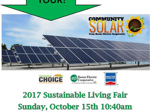 Boone Electric Coop Community Solar Farm to be on Sustainable Living Fair Tour October 15, 2017 at 1