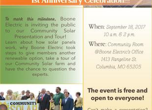 Boone Electric Community Solar Farm OPEN HOUSE September 18, 2017