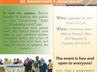 Boone Electric Community Solar Farm OPEN HOUSE September 18, 2017