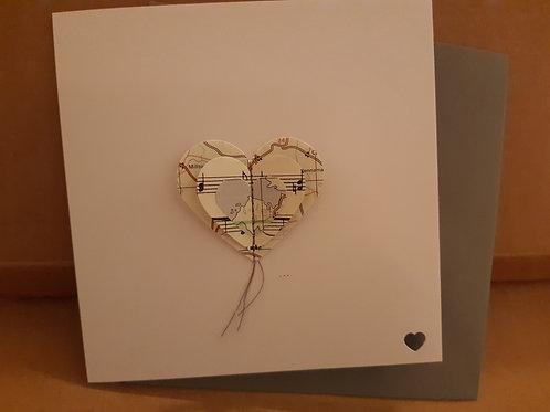 3D Heart Card: Maps/Music Paper