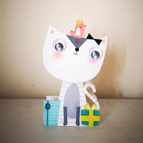 Wobbly Head Card: Birthday Cat