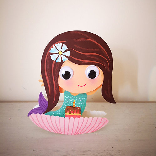 Wobbly Head Card: Birthday Mermaid