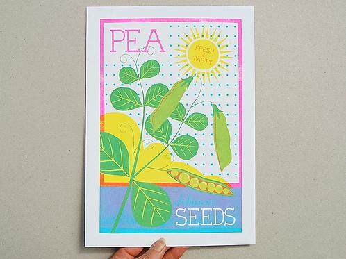 Pea Seeds A4 Risograph Print