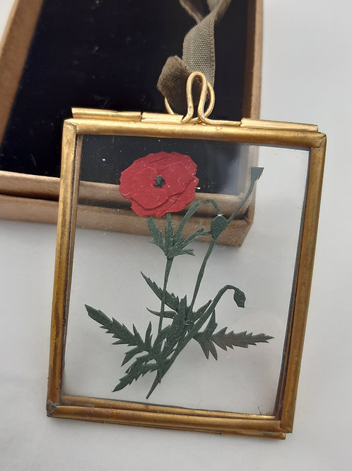 Handcut Paper Poppy Mini Frame
