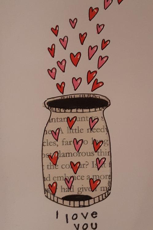 'I Love You' Jar of Hearts Illustration