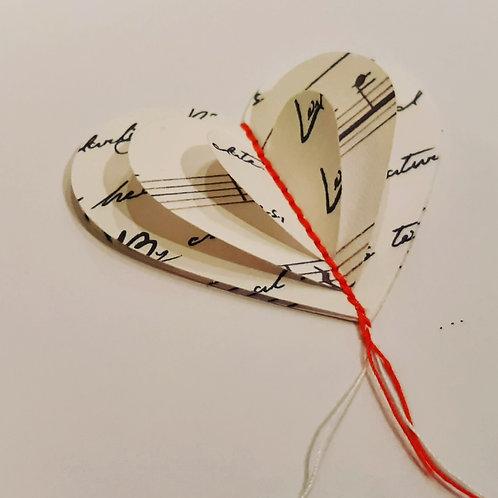 3D Heart Card: Music/Script Paper