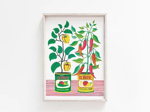 Chilli Peppers A4 Art Print