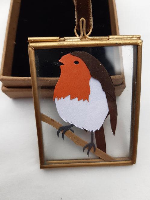 Handcut Mini Robin Hanging Frame
