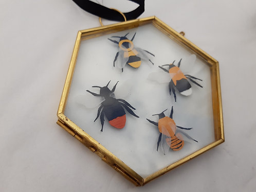 Handcut Paper Bees in Hanging Frame