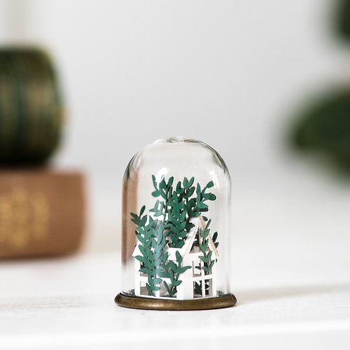 Tiny Handcut Paper Greenhouse in Glass Dome