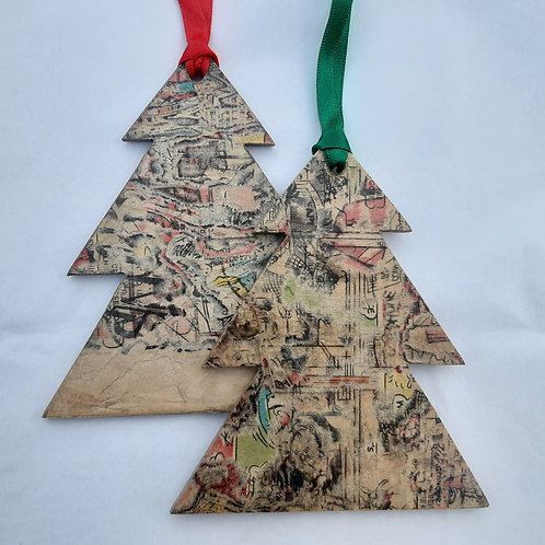 Recycled Paper Christmas Tree Decoration