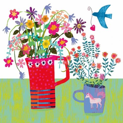 Flowers and Pony Mug Card