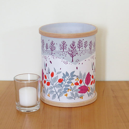 Hand Printed Lantern: Winter Hedgerow