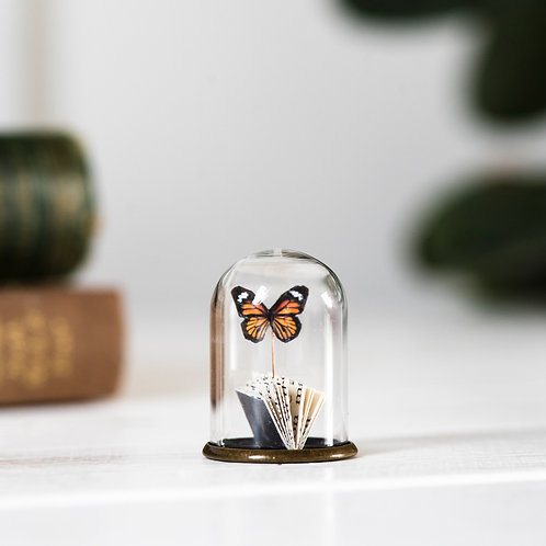 Handcut Paper Book & Butterfly in Tiny Glass Dome