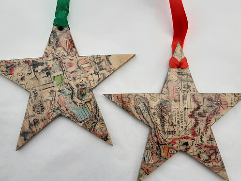 Recycled Comic Book Star Decoration
