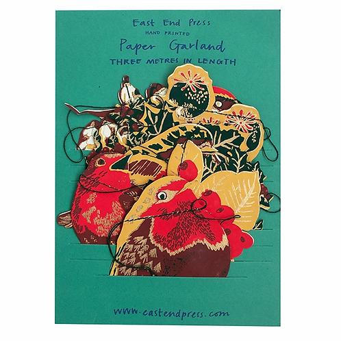 Handprinted Festive Hedgerow Paper Garland