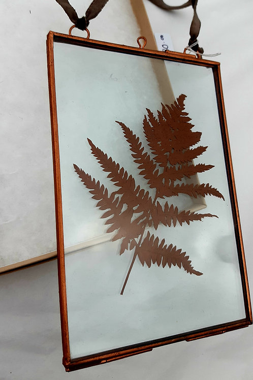 Papercut Fern Leaf in Glass Hanging Frame