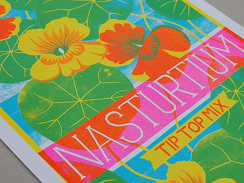Nasturtium A3 Risograph Print