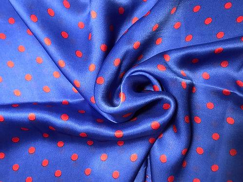 Blue polka dots - 100% Silk