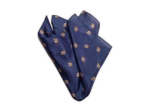 Blue with flowers - 100% silk