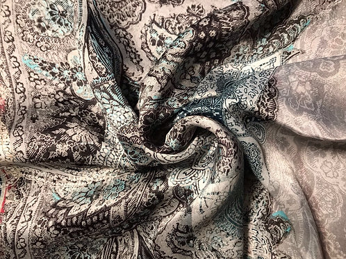 Gray and turquoise patterns - 100% Silk