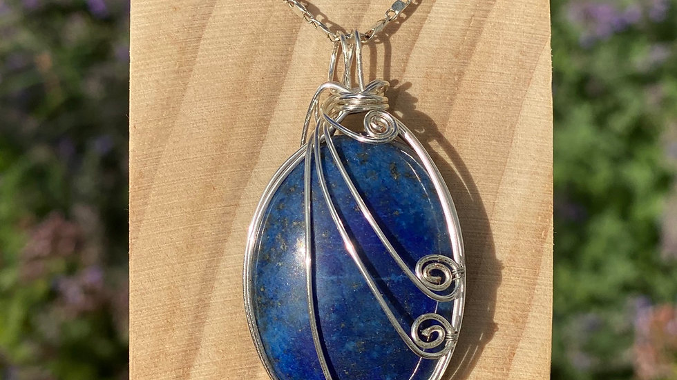 Lapis Lazuli Sterling Silver Wire Wrapped Pendant