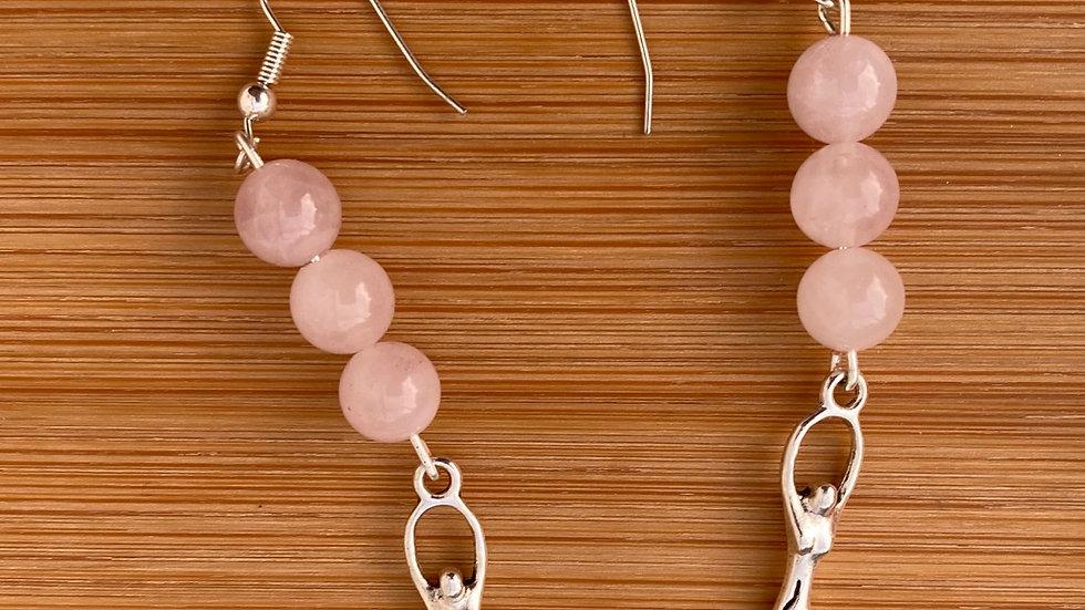 Rose Quartz Goddess Dangle Earrings - Sterling Silver Fish Hooks - Goddess Charm