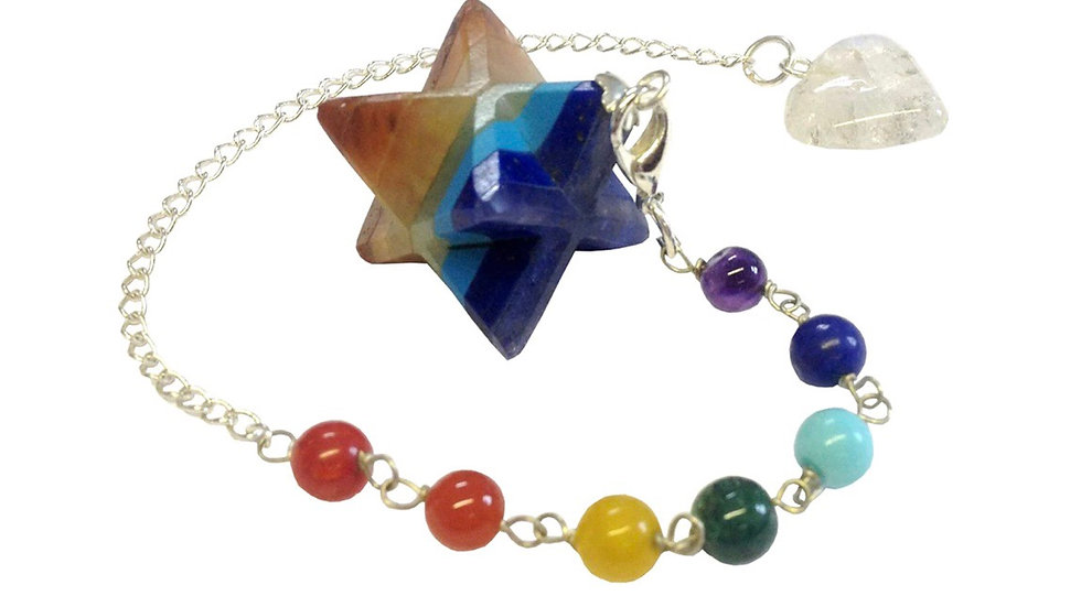 Chakra Gemstone Layered Merkaba Pendulum Bracelet