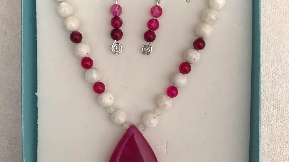 Moonstone and Pink Lace Agate Necklace and Earring Set