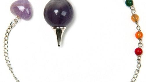 Amethyst Sphere Chakra Bead Pendulum / Bracelet Combination