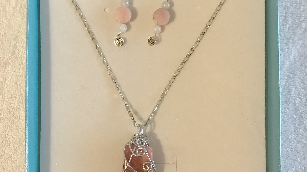 Pink Opal Wire Wrapped Reiki Pendant and Earring Set