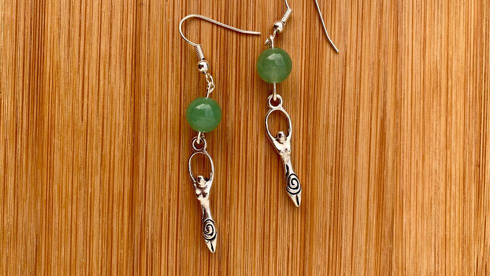 Jade Goddess Dangle Earrings - Sterling Silver Fish Hooks - Goddess