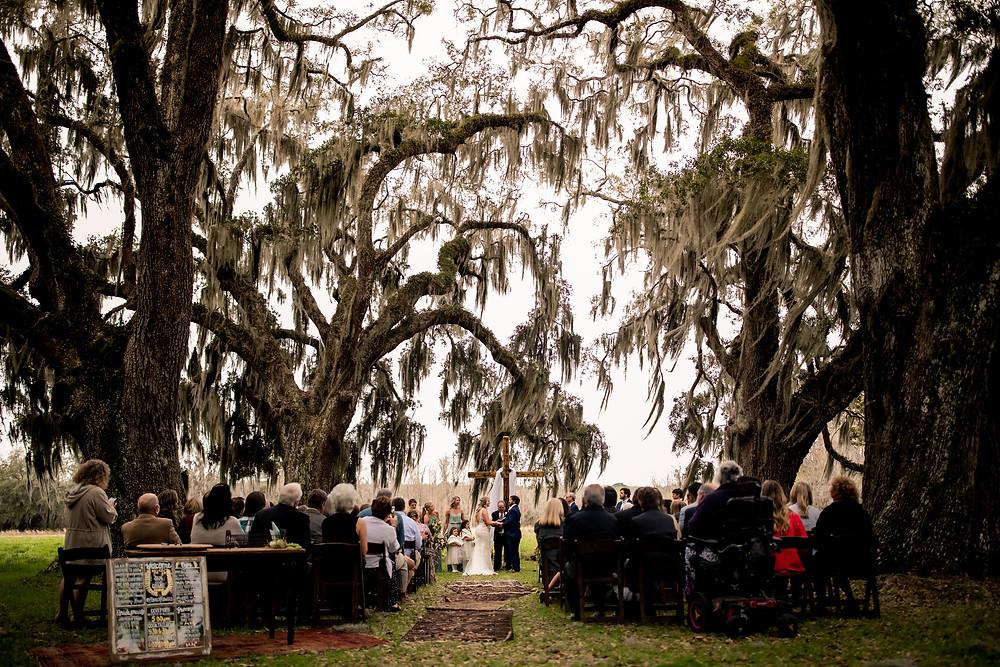 outdoor ceremony, oak trees, wedding, Beaufort Wedding Venues, Charleston Wedding Venues, Wedding Venues in Beaufort, Wedding Venues in Charleston, Wedding Venues in South Carolina, South Carolina Wedding Venue, Weddings, Wedding Venues, South Carolina Wedding