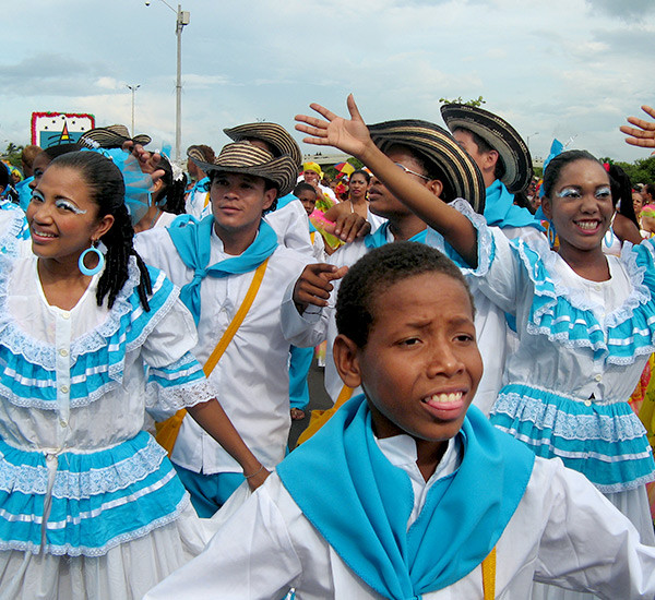 Children of Columbia dressed up in traditional clothes for independence day.