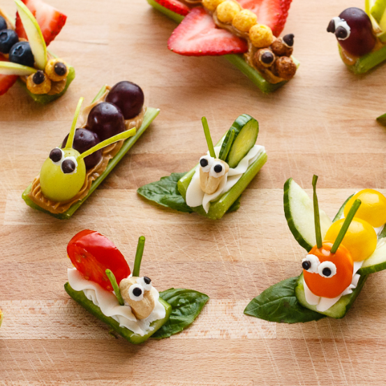 Vegetables and Fruits made into edible snacks that look like bugs.