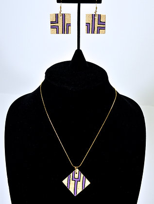 "Pathways Earthen""wear"" Necklace Set: Purple"