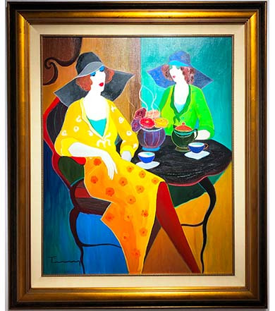 Itzak Tarkay Oil Painting Tea Time.JPG