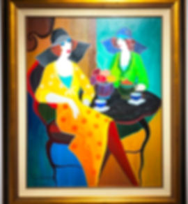 Itzak Tarkay Oil Painting Tea Time.JPG