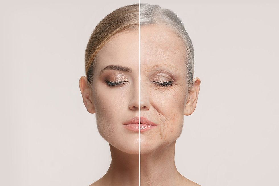 womens face highlighting the signs of ageing