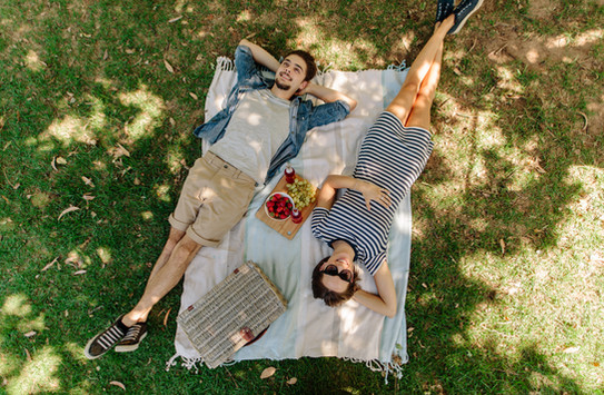 View from above of relaxed man and woman