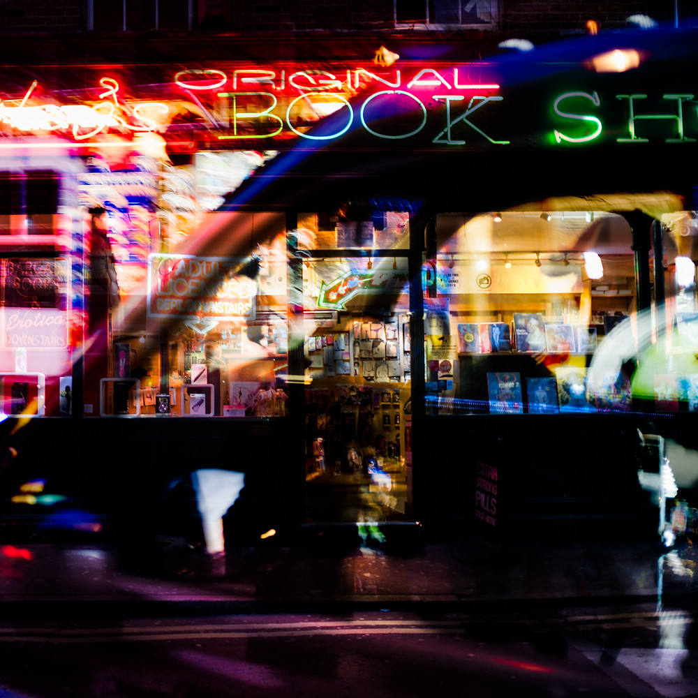 abstract street photography using intentional camera movement and multiple exposure