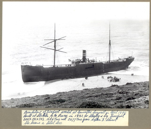 shipwreck of the brankelow at dollar cove 1890