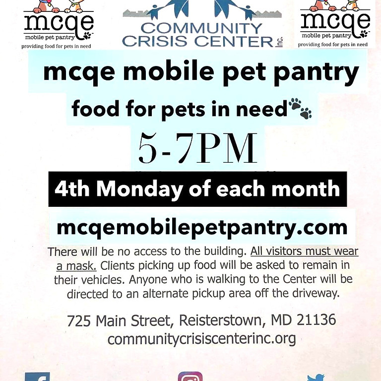MCQE Mobile Pet Pantry Stop! Community Crisis Center